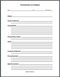 This free printable notebooking worksheet (PDF) asks students to research and report upon a religion, including its number of adherents, principal beliefs, principal deity or deities, history, location(s) of adherents, principal symbol(s), and major denominations or sects.