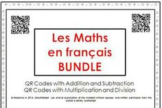 QR codes and numbers 0 to 1200 for French speaking students to practice math! French Teacher, Teaching French, Math Addition, Addition And Subtraction, Middle School, High School, French Numbers, Ontario Curriculum, English Resources