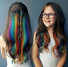 We've gathered our favorite ideas for Pin By Christina Bigz On Hair Kids Hair Color Hidden, Explore our list of popular images of Pin By Christina Bigz On Hair Kids Hair Color Hidden in hidden rainbow hair color. Kids Hair Color, Girl Hair Colors, Cool Hair Color, Kids With Colored Hair, Little Girl Hairstyles, Pretty Hairstyles, Braided Hairstyles, Rainbow Hairstyles, Fast Hairstyles