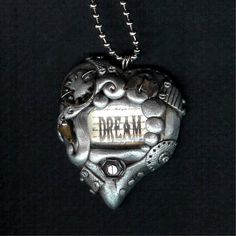 Steampunk Dream Heart Necklace Polymer Clay Jewelry