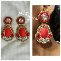 Aretes rojos Bead Embroidery Jewelry, Beaded Embroidery, Beaded Earrings, Drop Earrings, Craft Accessories, Beautiful Earrings, Diy Fashion, Diy And Crafts, Beading