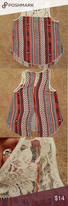 Beautiful aztec fall blouse In excellent condition Worn once for Christmas last year Size small  White lace detail By renne c. Slit down the back that looks so cute with jeans or a dark skirt Renee C. Tops Blouses