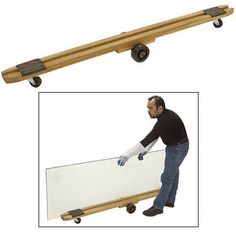 """CRL 72"""" Plate Glass Dolly by CR Laurence by CR Laurence. $266.14. Height: 6-3/4 in (171.5 mm) Length: 72"""" (1829 mm) Width: 5 in (127 mm) Capacity: 350 Lbs. (159 kg) Caster Design Allows Turn-On-A-Dime Maneuvering Felt Pads Cushion the Load Built to Last for Years The CRL Plate Glass Dolly is used to move glass from upright storage to another shop location or to your truck for transport to a job. The frame is made from solid hardwood with a 1-1/2 inch (38.1 millimeter) groo..."""