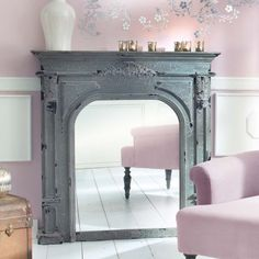 kaminumrandung kaminkonsole kaminsims antik look shabby chic vintage landhaus in m bel wohnen. Black Bedroom Furniture Sets. Home Design Ideas