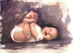 watercolor baby portraits - Google zoeken