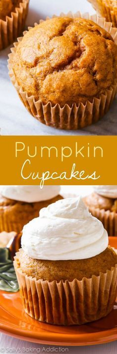 These simple spiced pumpkin cupcakes are incredible with creamy sweet…
