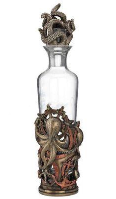 Steampunk Octopus Spirit Decanter Home Decor Statue Figure