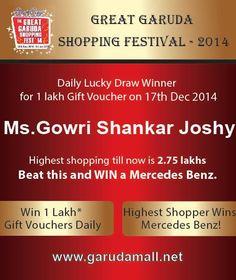#garudashoppingfestival Lucky draw winner for 17 December 2014 — at Garuda Mall.