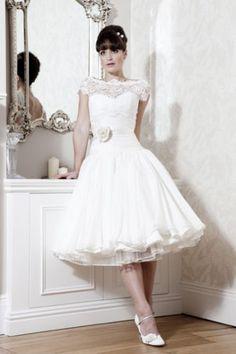 A-line tea length off the shoulder lace wedding gown