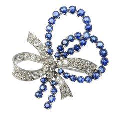 sapphire and diamond bow brooch
