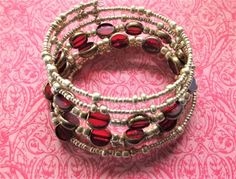 Burgundy and Gold Beaded Oval Memory Wire by BlingItOutLoudCharms