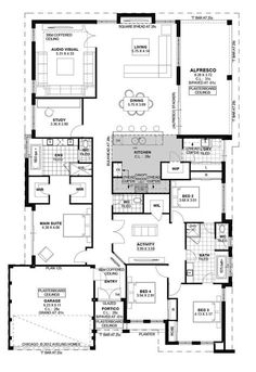 Today I have this family home with a study to show you. The plan is a great size and would suit a normal residential block. The 3 kids bedrooms are to the front of the home with the master being behind the garage. Home Design Floor Plans, Bedroom Floor Plans, Plan Design, Dream House Plans, House Floor Plans, My Dream Home, Metal Building Homes, Building A House, Building Ideas