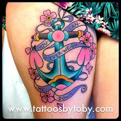 "anchor tattoo  Wording like this or ""refuse to sink"" Hate the colors but the idea behind it is pretty cool."