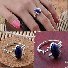 The Vampire Diaries Elena Gilbert Ring Lapis Lazuli Ellipse Ring Fashion Jewely