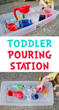 Pouring Station Activity for Toddlers - Busy Toddler Activities For 2 Year Olds, Fun Activities For Toddlers, Motor Activities, Sensory Activities, Infant Activities, Sensory Play, Preschool Activities, Sensory Bins, Outdoor Toddler Activities