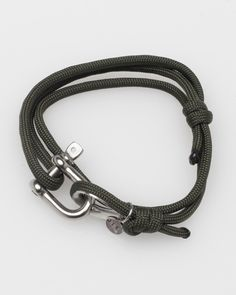 Simple photo, simple rope bracelet. Made by JLK. Nautical Shackle. Comes in Olive, Black, Navy, Orange and White. 28.00 USD - Available at Need Supply Co. - http://needsupply.com/mens/brands/jlk