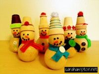 Wooden snowmen with felt and button accessories at sarahampton.net.