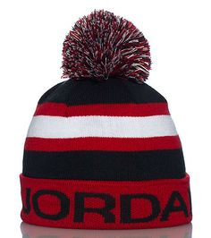 b745488a613a25 JORDAN Winter beanie Embroidered JORDAN logo on roll-up brim Contrasting  stripes across middle Pom p.