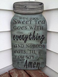 "Mason Jar Shape Hand Painted 18""x9"" Wood ""Sweet Tea Amen"" Sign"