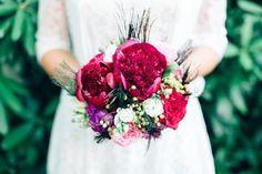 Peacock bridal bouquet