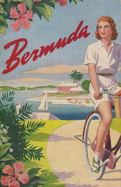 Bicycle Art ~ vintage Bermuda travel poster