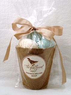 Beautiful MIXED speckled egg shaped soap packaged in a peat pot. $7.95, via Etsy.