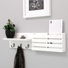 Kiera Grace Sydney Wall Shelf and Mail Holder with 3 Hooks, by White This coat rack shelf features. Decor, Wall Mounted Shelves, Coat Rack Shelf, Mail Holder, Hanging Storage, Mail Holder Wall, Wall Mounted Coat Rack, White Wall Shelves, Wall Shelf With Hooks