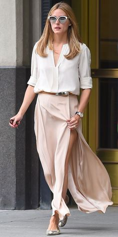 Olivia Palermo's White Shirt, Blush Side-Slit Skirt & Skinny Brown belt.