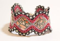 Hand Embroidered Soutache Bracelet with Mosaic by Herinia on Etsy, $40.00
