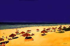 "Saatchi Art Artist ACQUA LUNA; Painting, ""36- Anochecer en la playa."" #art"