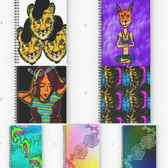 Got some notebooks for you guys   Redbubble.com/people/allibeck #art #graphicdesign #illustration #cartoons #edm #flowers #cartoon #journal #diary #writing #yoga #cheetah #dj #edm #ocean #mixedmedia #backtoschool #school #digitalart #design #popart