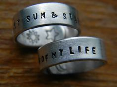 Two phrases to warm the heart from game of thrones lovers: This pair of ring will be hand stamped You are the moon of my life. (Used when addressing a beloved woman since the moon is seen as female
