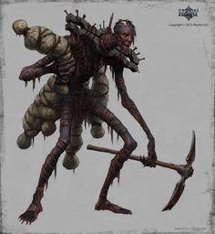 One of the monsters created for the mobile game 'Monster heart'. Monster Concept Art, Fantasy Monster, Monster Art, Dark Fantasy, Medieval Fantasy, Fantasy Art, Dnd Monsters, Cool Monsters, Creature Concept Art