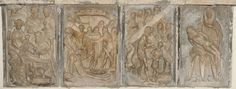 St. Bartholomew's, Yarnton, alabaster panels thought to have come originally from near St. Edmund Hall, Oxford.