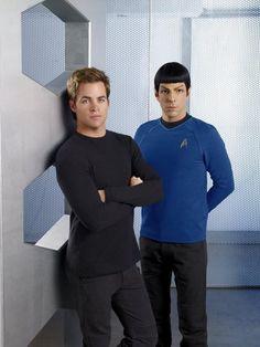 Chris Pine and Zachary Quinto in Star Trek as Kirk and Spock. New Star Trek Movie, Star Trek V, Star Trek 2009, Star Trek Movies, James T Kirk, Star Trek Reboot, Star Trek Images, Star Trek Characters, Star Trek Beyond