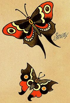 Sailor Jerry tattoo designs for men and women. Sailor Jerry tattoos made on different parts of the body. Sailor Jerry tattoos of different sizes, shapes and colors. S Jerry anchor tattoo - S Jerry style tattoos - S Jerry pin up girl tattoos. 4 Tattoo, Tatoo Art, First Tattoo, Tattoo Names, Sailor Jerry Tattoo Flash, Sailor Tattoos, Seahorse Tattoo, Traditional Tattoo Flash, Traditional Butterfly Tattoo