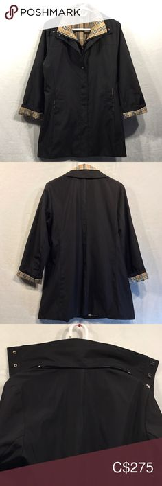 """Vintage 🌟Burberry🌟coat Vintage Burberry mid length men's coat. Made in England. Fully lined with the iconic Nova check pattern. Has inner pocket. In GUC. Is missing good but you can't tell when collar is down (refer to pic 3 and 4) Has two tiny holes on left arm (barely noticeable) and tiny snag on inner lining (refer to last 2 photos). Unsure of size but You can refer to measurements.   Measurements: 17"""" across shoulders 22"""" across waist  33"""" long 23"""" arm from top to shoulder (unfolded)…"""