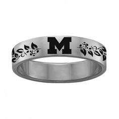 Vine Design College Jewelry Organic Style University of Arizona Wildcats Rings Stainless Steel 6MM Wide Ring Band
