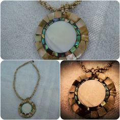 Colar Medalhão Madrepérola & Abalone  http://www.munayartes.com/