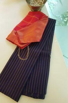 Navy vanki design kanchi silk saree - Nvy blue kancheepuram silk saree with the traditional veldhaari /vanki designs woven on the body in pure zari.The blouse is also navy with gold zari buttis.