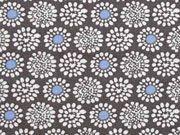 BW Blumen Rädchen, weiss blau auf schlamm