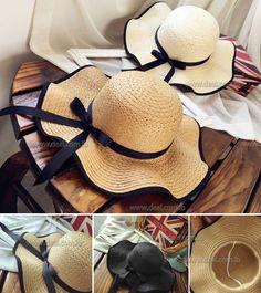 9f0a48621cd  La MaxPa Elegant fashion summer hats for women bowknot wide large brim Wave  edge straw beach hat girl Travel casual sun hats