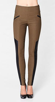 Leggings with faux leather trim