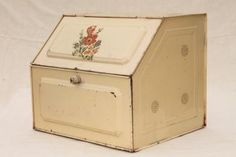 1940s vintage metal bread box, tin breadbox for country farmhouse kitchen
