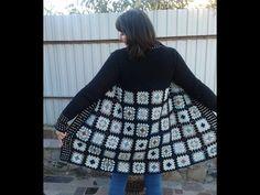 Кардиган из квадратных мотивов. Часть 6. Планка, воротник. Knitting women's cardigan. - YouTube