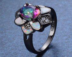 Luxusný dámsky prsteň zo zliatiny tmavého zlata s farebným opálom Floral, Rings, Jewelry, Jewlery, Jewerly, Flowers, Ring, Schmuck, Jewelry Rings