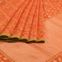 Shivangi Kasliwaal Cinnabar Orange Handwoven Banarasi Cotton Saree 10005141…