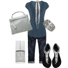 blue and silver, created by debtastic on Polyvore