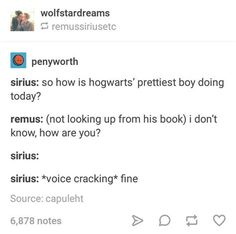 I mean this could be thr two of them flirting with each other, but Remus could also think Sirius was talking about himself because he knows he's fucking handsome<<lol true but I'm gonna go with wolfstar Harry Potter Marauders, Harry Potter Ships, Harry Potter Jokes, Harry Potter Universal, Harry Potter Fandom, Harry Potter World, The Marauders, Severus Snape, Draco Malfoy