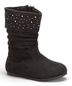 Loving this Black Shimmer Slouch Boot on #zulily! #zulilyfinds